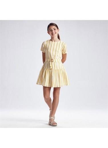 Mayoral Mayoral Kiz Çocuk Çizgili Elbise Sarı 20101 Sarı